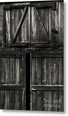 Old Barn Door - Bw Metal Print by Paul W Faust -  Impressions of Light