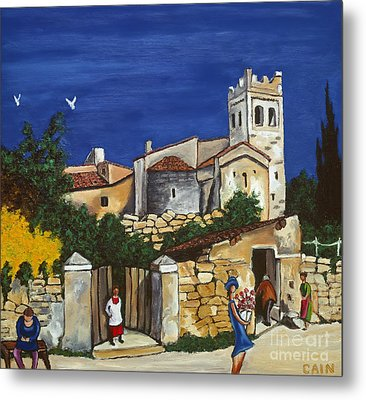 Old Church And Flower Girl Metal Print by William Cain