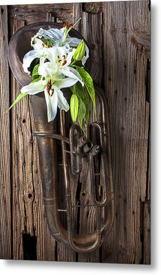 Old Tuba And White Lilies Metal Print by Garry Gay