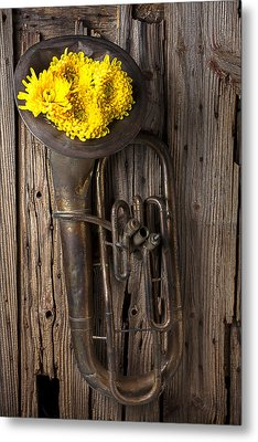 Old Tuba And Yellow Mums Metal Print by Garry Gay