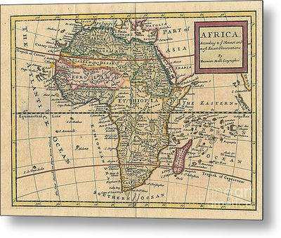 Old World Map Of Africa Metal Print by Inspired Nature Photography Fine Art Photography