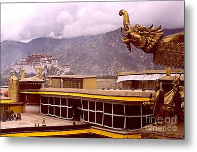 On Jokhang Monastery Rooftop Metal Print by Anna Lisa Yoder