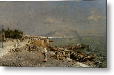 On The Waterfront At Palermo Metal Print by Franz Richard Unterberger