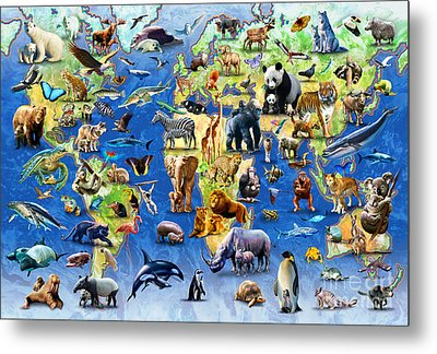 One Hundred Endangered Species Metal Print by Adrian Chesterman