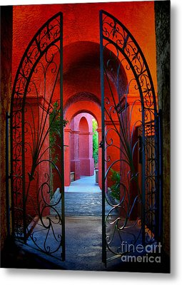 Ornate Gate To Red Archway Metal Print by Amy Cicconi