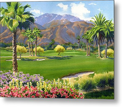 Palm Springs Golf Course With Mt San Jacinto Metal Print by Mary Helmreich