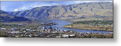 Panorama Of The Dalles Oregon. Metal Print by Gino Rigucci