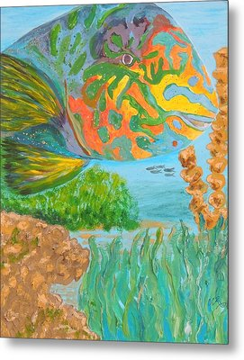 Parrotfish In The Coral Metal Print by Connie Campbell Rosenthal