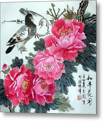 Peace Flowers Metal Print by Yufeng Wang