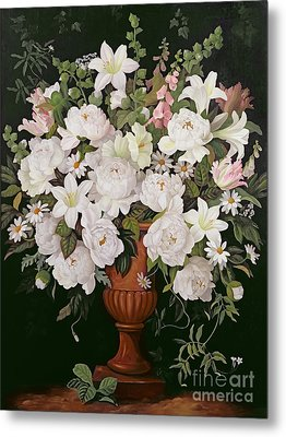 Peonies And Wisteria Metal Print by Lizzie Riches