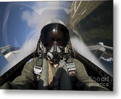 Pilot Takes A Self Portrait While Metal Print by HIGH-G Productions