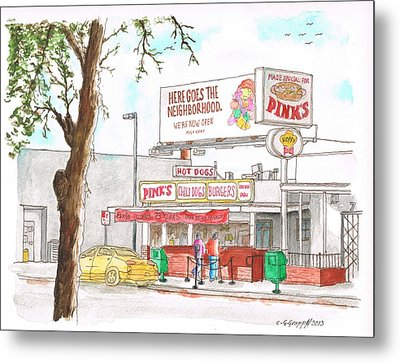 Pinks Chili Dogs - Hollywood - California Metal Print by Carlos G Groppa