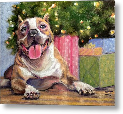 Pitbull Christmas Metal Print by Susan Jenkins