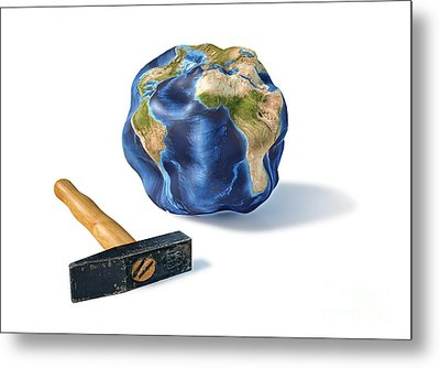 Planet Earth Smashed By A Hammer Metal Print by Leonello Calvetti