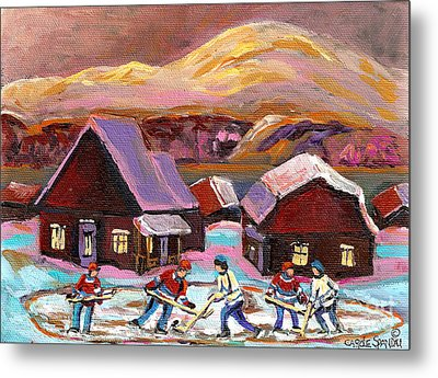 Pond Hockey Cozy Winter Scene Metal Print by Carole Spandau