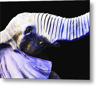 Purple Rein - Vibrant Elephant Head Shot Art Metal Print by Sharon Cummings