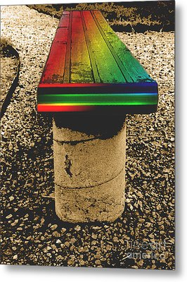 Rainbow Park Bench Metal Print by ImagesAsArt Photos And Graphics