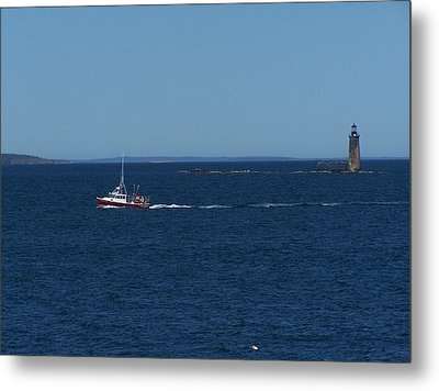 Ram Island Ledge Light Metal Print by Gene Cyr
