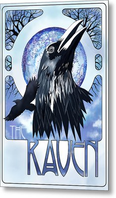 Raven Illustration Metal Print by Sassan Filsoof