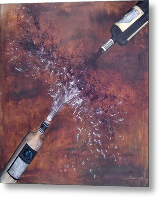 Red And White Wine Explosion Metal Print by Michelle Iglesias