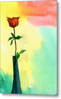 Red Rose 1 Metal Print by Anil Nene