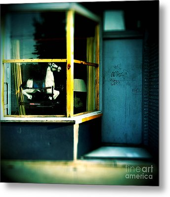 Rocking Horse In Window Metal Print by Amy Cicconi