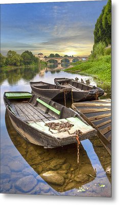 Rowboats On The French Canals Metal Print by Debra and Dave Vanderlaan