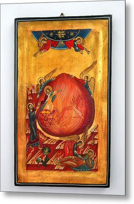 Saint Prophet Elias Hand Painted Russian Byzantine Icon  Metal Print by Denise Clemenco