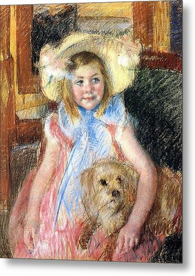 Sara Holding Her Dog Metal Print by Marry Cassatt