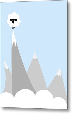 Sheep On Top Of A Mountain Metal Print by Christy Beckwith