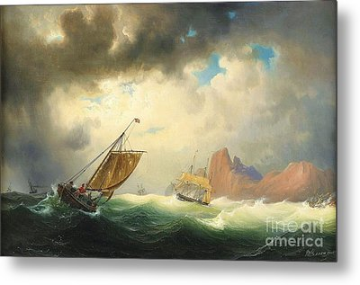 Ships On Stormy Ocean Metal Print by Pg Reproductions