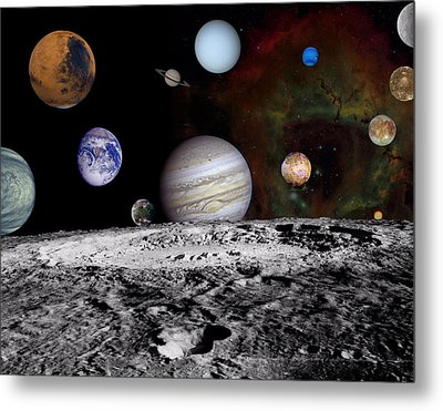Solar System Montage Of Voyager Images Metal Print by Movie Poster Prints