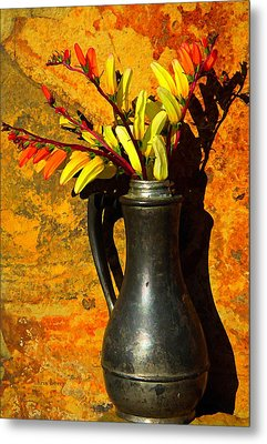 Spanish Flags In Pewter  Metal Print by Chris Berry