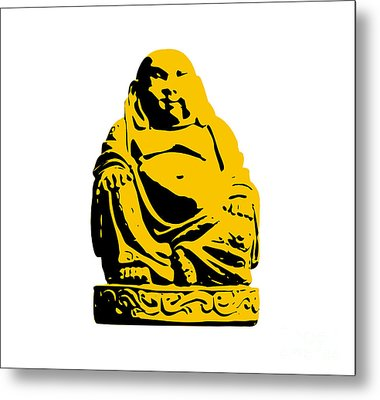 Stencil Buddha Yellow Metal Print by Pixel Chimp