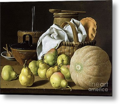 Still-life  Melon And Pears Metal Print by Pg Reproductions