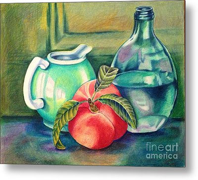 Still Life Of Peach Pitcher And Decanter Of Water Metal Print by Julia Gatti