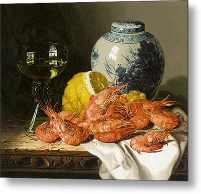 Still Life With Prawns And Lemon Metal Print by Edward Ladell