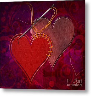 Stitched Hearts Metal Print by Bedros Awak