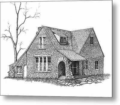 Stone House Pen And Ink Metal Print by Renee Forth-Fukumoto