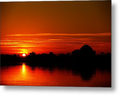 Sunrise At Jefferson Memorial Metal Print by Metro DC Photography