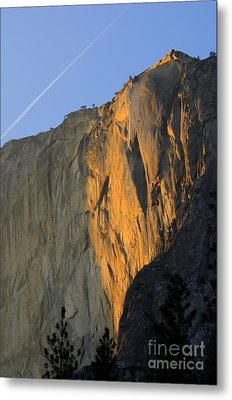 Sunset On Horsetail Fall Metal Print by Jim and Emily Bush