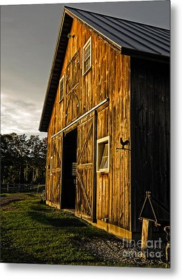 Sunset On The Horse Barn Metal Print by Edward Fielding