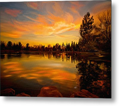 Sunset Over The Lake Metal Print by Angela A Stanton