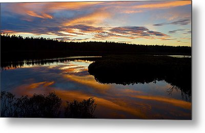 Sunset Reflecting Off Seawall Pond Acadia National Park Photograph Metal Print by Keith Webber Jr