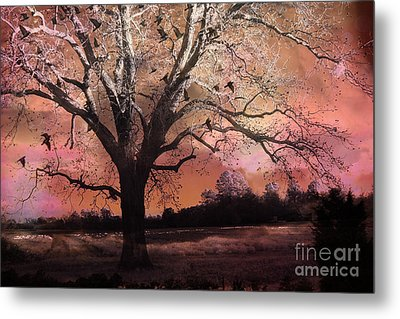 Surreal Gothic Fantasy Trees Pink Sky Ravens Metal Print by Kathy Fornal