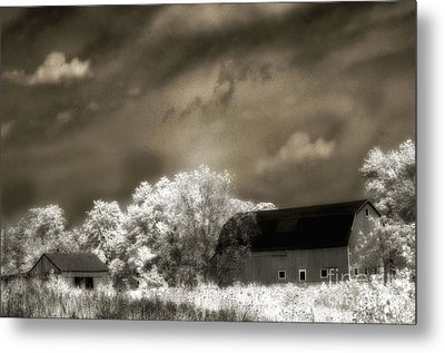 Surreal Infrared Sepia Rural Barn Landscape Metal Print by Kathy Fornal