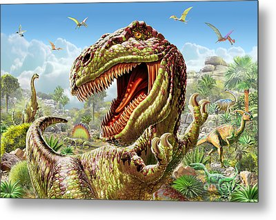 T-rex And Dinosaurs Metal Print by Adrian Chesterman