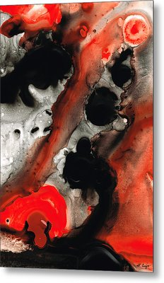 Tempest - Red And Black Painting Metal Print by Sharon Cummings
