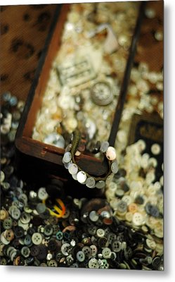 The Button Drawer Metal Print by Rebecca Sherman