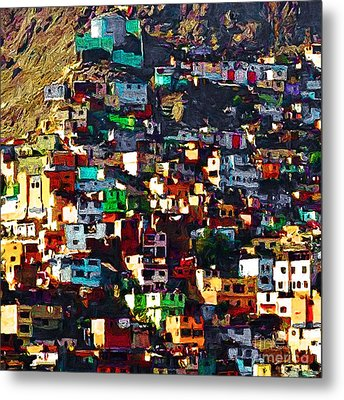 The City On The Hill V1 Square Metal Print by Wingsdomain Art and Photography